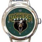 Baylor Bears Round Italian Charm Watch
