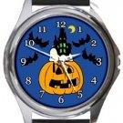 Snoopy Sleeping on Halloween Round Metal Watch