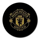 Manchester United FC Logo in Gold Heat-Resistant Round Mousepad