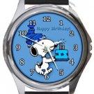 Snoopy Happy Birthday Round Metal Watch