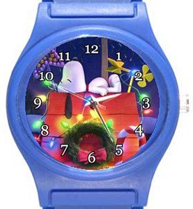 Snoopy Christmas Snooze Blue Plastic Watch