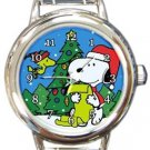 Snoopy Christmas Tree Round Italian Charm Watch
