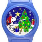 Snoopy and Woodstock Christmas Blue Plastic Watch