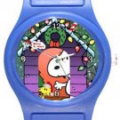Snoopy Is It Christmas Already Blue Plastic Watch