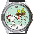 Snoopy Christmas Morning Round Metal Watch