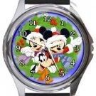 Mickey and Minnie Christmas Wreath Round Metal Watch