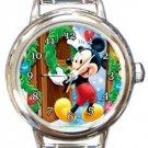 Mickey Welcome Christmas Round Italian Charm Watch