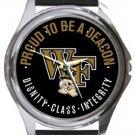 Wake Forest University Deacon Demons Round Metal Watch