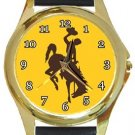 The University of Wyoming Cowboys Gold Metal Watch