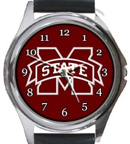 Mississippi State Bulldogs Round Metal Watch