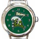 Tulane Green Wave Round Italian Charm Watch