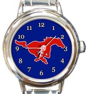 Southern Methodist University SMU Mustangs Round Italian Charm Watch
