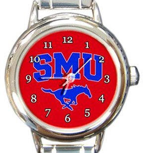 SMU Mustangs Round Italian Charm Watch