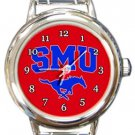 SMU Mustangs Round Italian Charm Watch