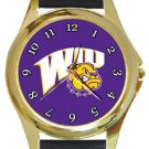 Western Illinois WIU Leathernecks Gold Metal Watch