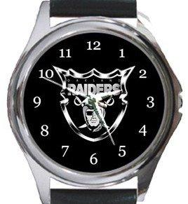 Oakland Raiders Round Metal Watch