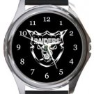 Oakland Raiders Round Metal Watch