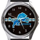 The Detroit Lions Round Metal Watch