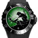 Green Arrow Plastic Sport Watch In Black