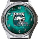 Philadelphia Eagles Helmet Round Metal Watch