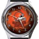 Cleveland Browns Helmet Round Metal Watch