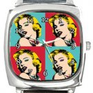 Marilyn Monroe Andy Warhol Square Metal Watch