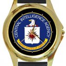 Central Intelligence Agency CIA Logo Gold Metal Watch