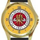 Florida State University Logo Gold Metal Watch