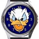 Grumpy Donald Duck Round Metal Watch