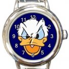 Grumpy Donald Duck Round Italian Charm Watch