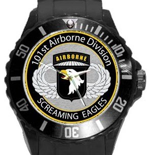 101st Airborne Division Screaming Eagles Plastic Sport Watch In Black
