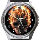 Ghostrider Burning Skull Round Metal Watch
