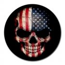 USA Flag Skull Heat-Resistant Round Mousepad