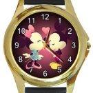 Mickey Minnie Love Gold Metal Watch