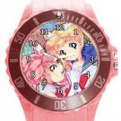 Sailor Moon and Sailor Chibi Moon Plastic Sport Watch In Pink