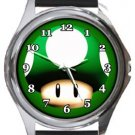 Super Mario Mushroom Round Metal Watch
