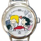 Peanuts Snoopy Lucy Loves Schroeder Round Italian Charm Watch