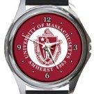 University of Massachusetts Amherst Round Metal Watch