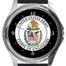 US Army Corps of Engineers Round Metal Watch