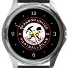 Brandon United FC Round Metal Watch