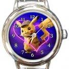 Super Cute Detective Pikachu Round Italian Charm Watch