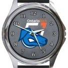 Ontario Tech Ridgebacks Round Metal Watch