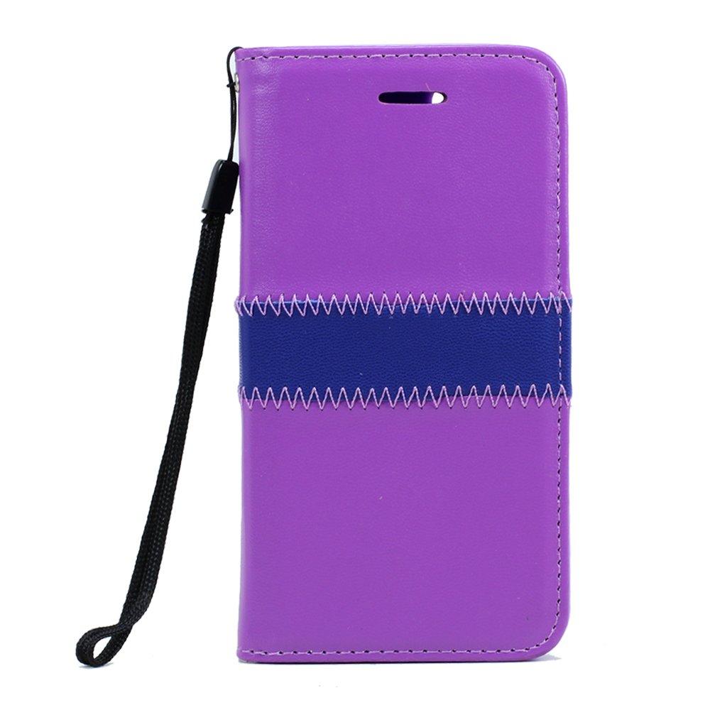 iPhone 7 Plus Magnetic Flip Leather Wallet Case (Purple)
