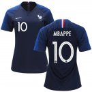Women's KYLIAN MBAPPE #10 France Home Soccer World Cup Jersey 2018, Blue NWT