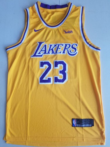 Los Angeles Lakers #23 Lebron James Retro Yellow NBA Jersey Free ...