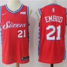 Philadelphia 76ers #21 Joel Embiid Red Mens Basketball Jersey 2018 Free Shipping