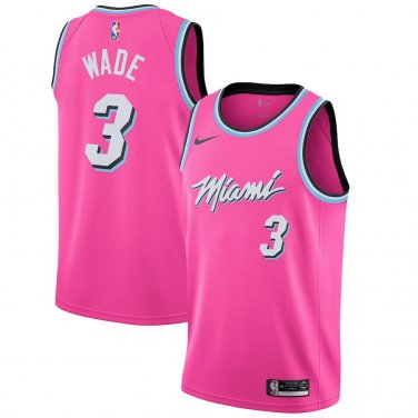sale retailer 9ca2e f52a0 Miami Heat Sunset Vice Pink 2018 Men's NBA Basketball Jersey Wade #3 BNWT  Free Shipping