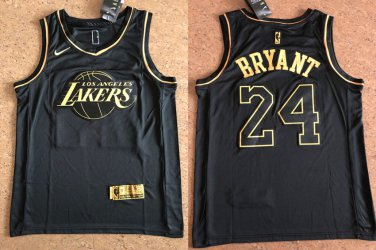 Los Angeles Lakers #24 Kobe Bryant Black Gold Jersey Free Shipping