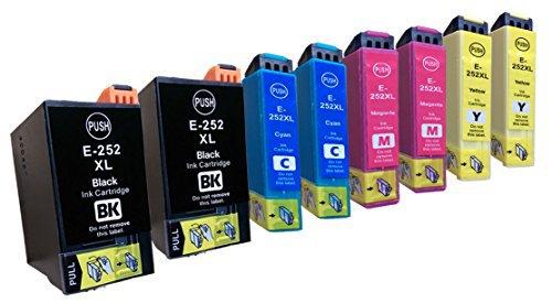 8 Pack Epson 252XL ink, WF-3620, WF-3640, WF-7110, WF-7610, WF-7620