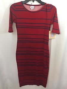 LULAROE Heathered Red Blue  Stripe Julia Dress Size XS NWT NEW